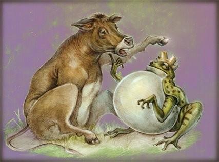 La rana ed il bue favola di fedro su pensieri di vita
